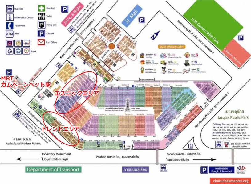 チャトチャック・ウィークエンドマーケット地図